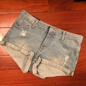 H&M denim regular waist cutoff shorts